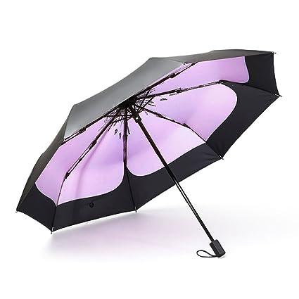 Lin Hai Paraguas de Protección Solar UV Paraguas Mujer Plegable Lluvia Doble Ultraligero Pequeño Mini Paraguas