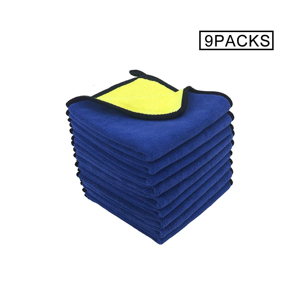 Car microfiber cleaning cloth automotive drying towel for cleaning car towel premium grade microfiber car cleaning cloth Super Absorbent, Lint and Streak Free 600GSM,16in.x16 in. Pack of 9,DUAL-PILE