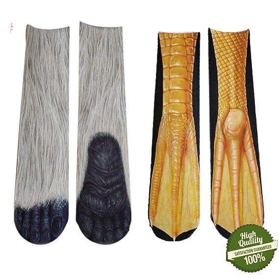 Morbuy Unisexo Adulto Calcetines, 3D Impresión Hombres y Mujer Animal Calcetines en Forma de Garra Novedad Elástico Deportes Socks (A): Amazon.es: Ropa y ...