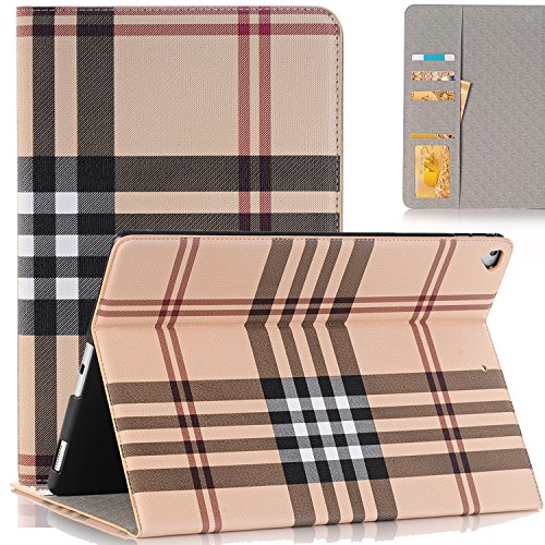 SAVYOU iPad Pro 12.9 Case 2015/2017, Grid Pattern Design Slim PU Leather Wallet Smart Shell Cover Stand Case with Card Slots Feature for Apple iPad Pro 12.9inch Tablet (with Auto Wake/Sleep) (Design Slim Leather Pu)