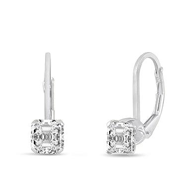 5d654f9f7 Amazon.com: 925 Sterling Silver Leverback Earrings CZ Asscher Cut 4mm:  Jewelry