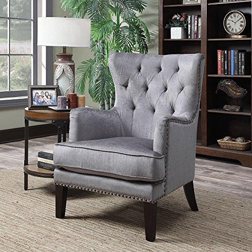 Isabella Chair - AC Pacific Isabella Contemporary Grey Wood/Fabric Wingback Accent Chair