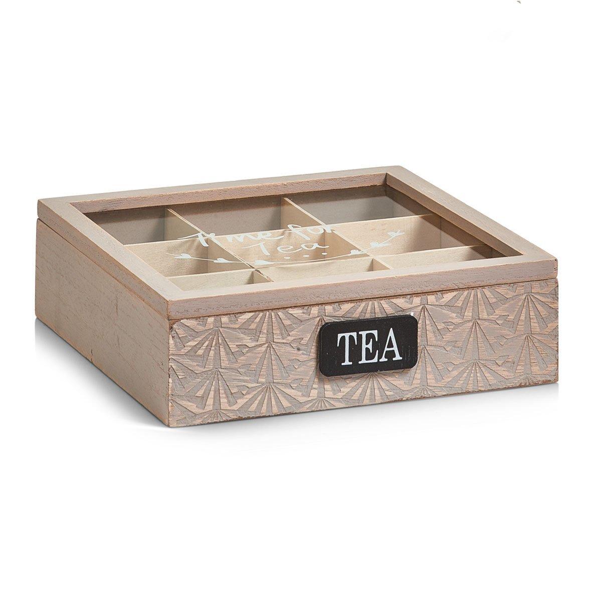 Zeller 15115 Contenitore per Bustine di tè, Legno, Beige, 24x24x7 cm