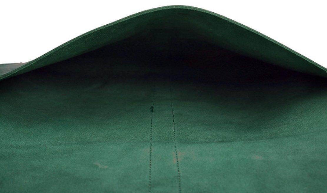 file Folder pocket messager bag case cow Leather for men women customize handmade green z624