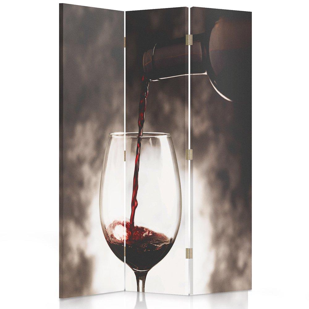 Bicchiere di Vino 110x150 cm Bianco Feeby Frames Il paravento Stampato su Telo,Il divisorio Decorativo per Locali Nero a 3 Parti bilaterale Rosso
