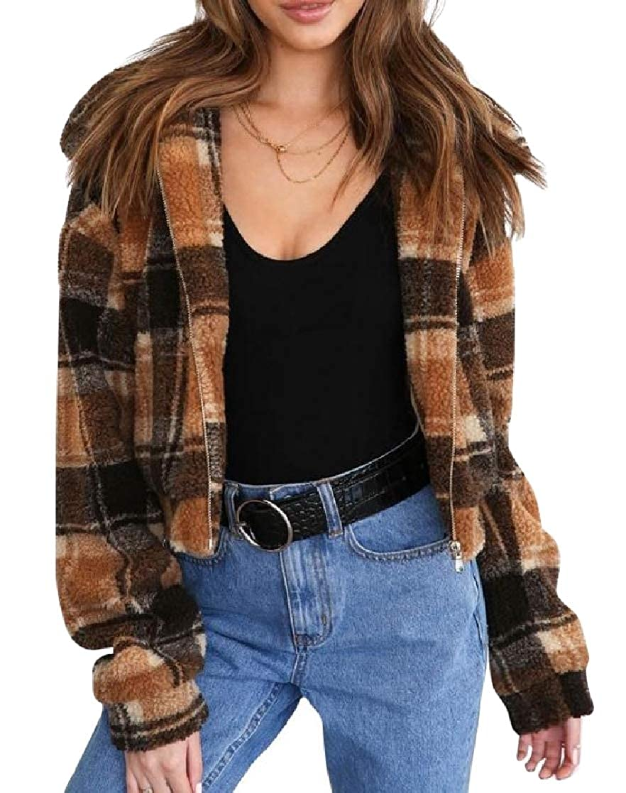 YUNY Womens Plaid Velvet Lapel Long-Sleeve Zip Pocket Outwear Jacket Brown XS