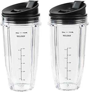 Blender Cups for Ninja Blender, 24OZ Cup with Sip & Seal Lids, Compatible with Nutri Ninja Auto IQ Series Blenders BL450 BL454 BL456, BL480, BL490, BL640, BL642, BL680 BL687 (2 Pcs)
