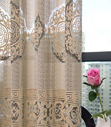 ASide BSide Asian Style Sheer Curtains Chic Jacquard Rod Pockets Home Treatment Elegant For Sitting Room Kitchen and Children Room (1 Panel, W 52 x L 84 inch, Coffee) by ASide BSide
