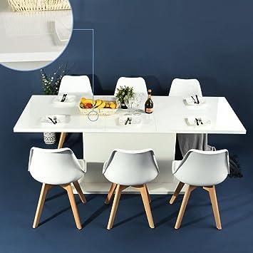 FITATHOME Table Extensible 160 205cm 6 à 8 Personnes Tendance Panneau  Particules Alvéolés Blanc Laqué