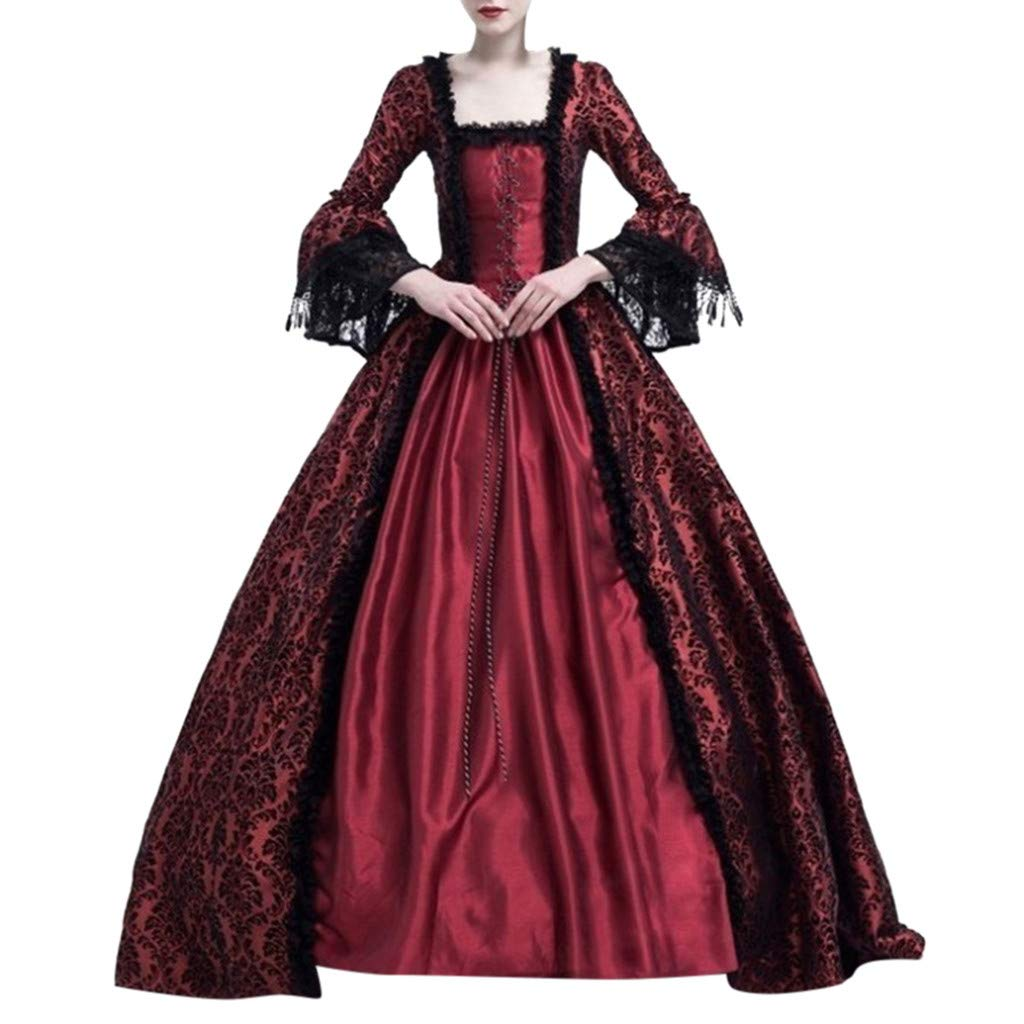 Sunyastor Women Renaissance Gothic Dark Queen Dress Ball Gown Steampunk Medieval Party Princess Cosplay Halloween Costume Wine