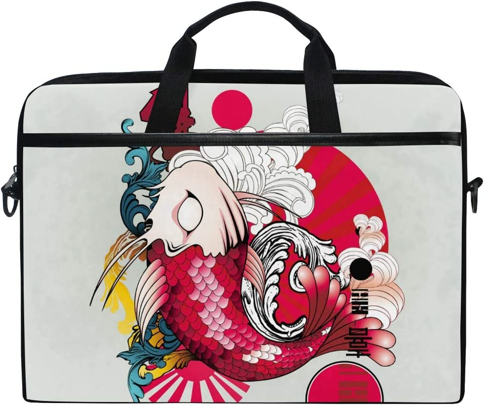 HELVOON Japanese Style Fish Laptop Shoulder Messenger Bag Computer Briefcase Business Notebook Sleeve Cover Carrying Handle Bag for 14 inch to 15.6 inch