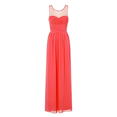 6f870fd101 Little Mistress Womens Ladies Coral Embellished Maxi Dress (12) (Coral)