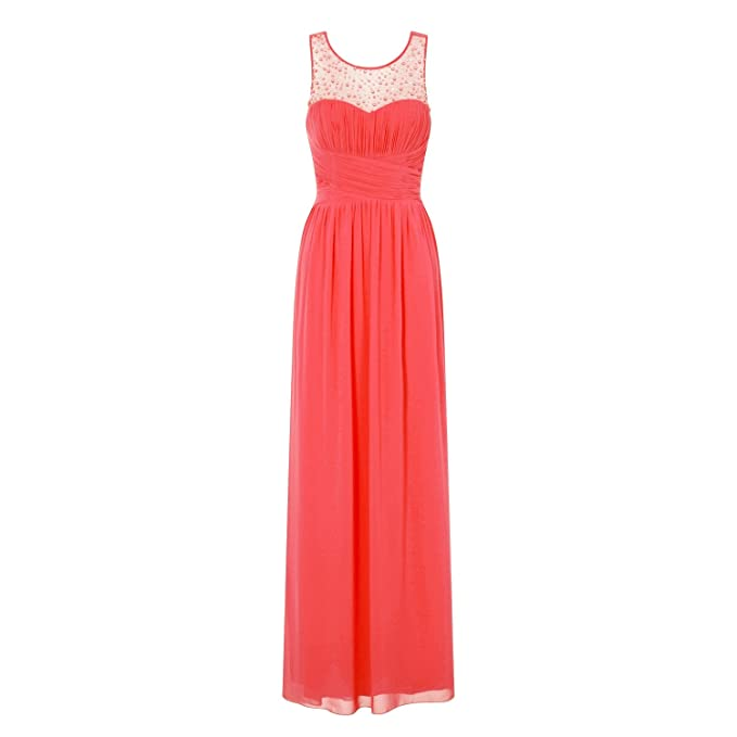 3735f1a592 Little Mistress Womens Ladies Coral Embellished Maxi Dress  Amazon.co.uk   Clothing