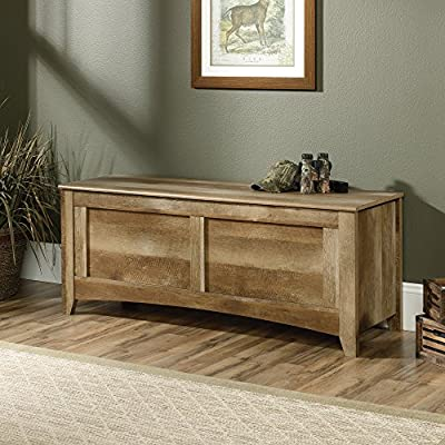 "Sauder 419343 East Canyon Gun Storage Bench, L: 53.15"" x W: 18.11"" x H: 21.22"", Craftsman Oak finish - Conceals five long guns under locking False bottom Gun Sentry Lockable Gun retention system (Lock not included) Felt padding for finish protection - entryway-furniture-decor, entryway-laundry-room, benches - 61j51ceoQmL. SS400  -"