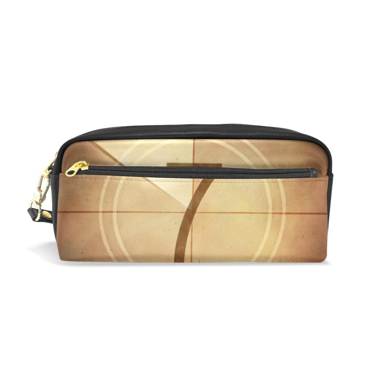 LORVIES Countdown Seven On The Old Movie Screen Portable PU Leather Pencil Case School Pen Bags Stationary Pouch Case Large Capacity Makeup Cosmetic Bag