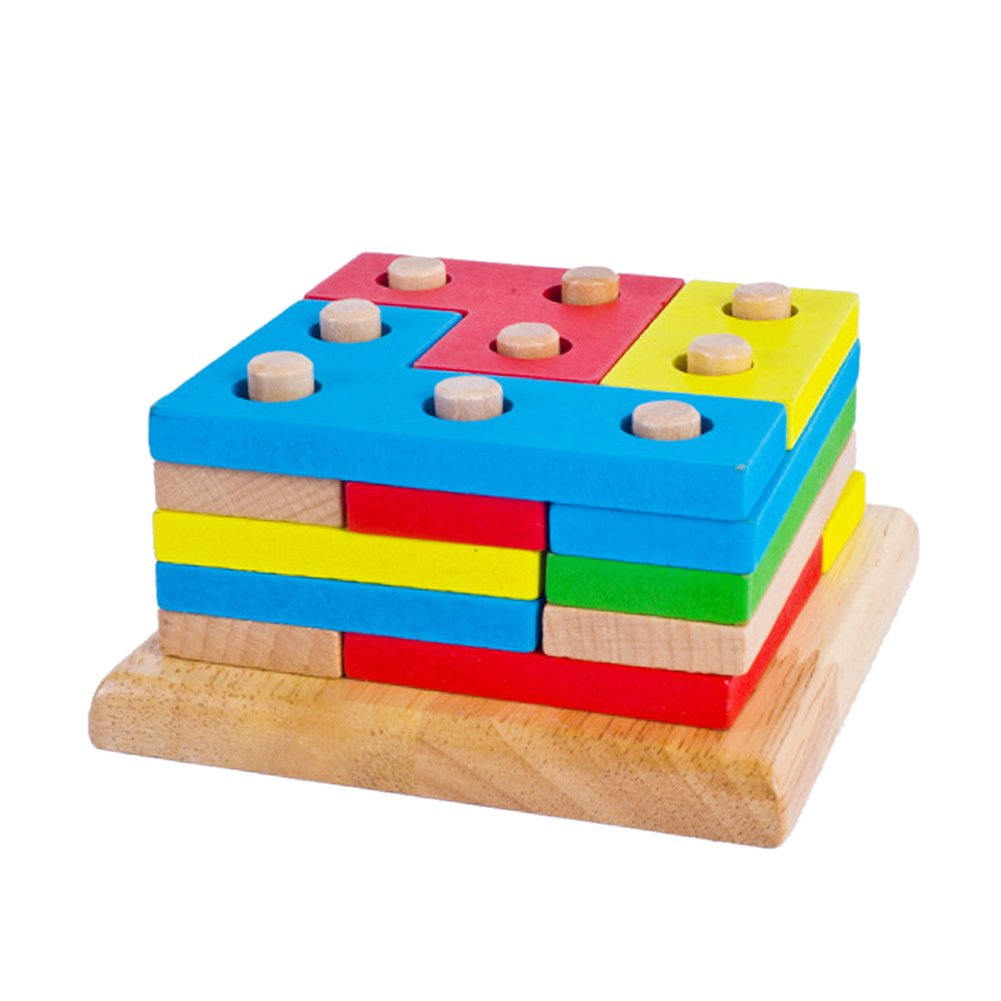 Greensun TM列図形Wooden Stacking Toys Baby Preschool教育幾何ソートボードブロックMontessori Building Blocks   B07DP7YGTB