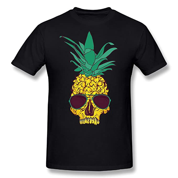 9ddd487e DXKDE Guys Skull Pineapple Short Sleeve Tshirt Black | Amazon.com