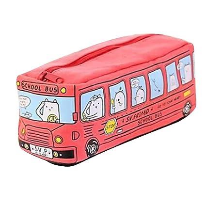 Fossrn Estuches Escolar para Niño Estudiantes Gatos Autobús Escolar bolso de caja de lápiz (Rojo