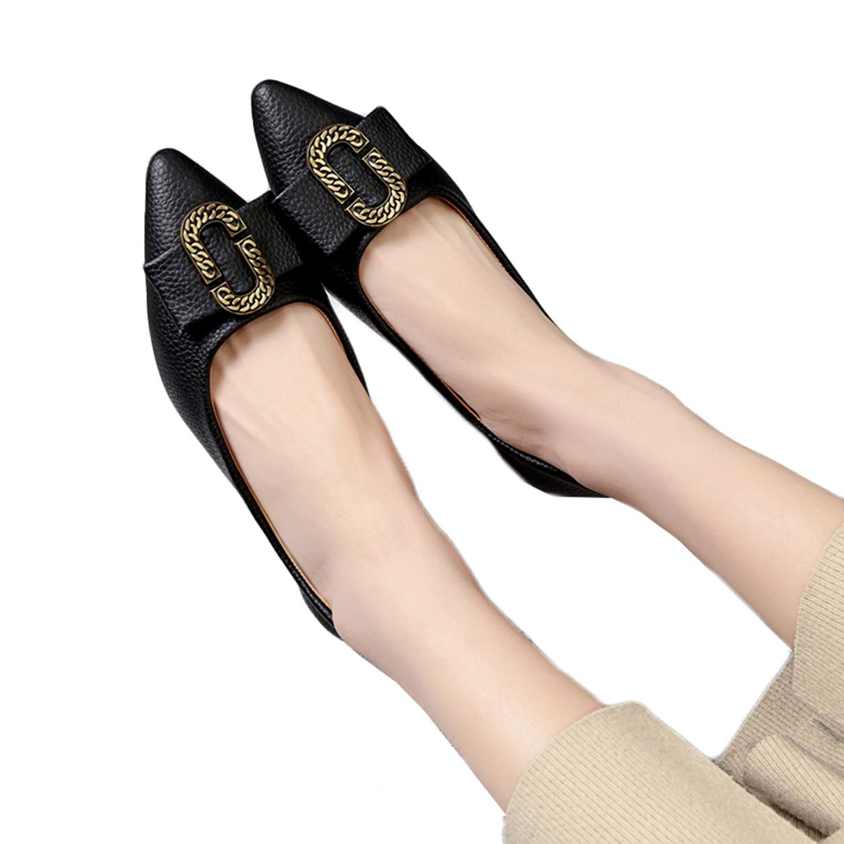 Owen Moll Women Flats Solid Metal Decoration Pointed Toe Slip-On Loafer Oxford Shoes