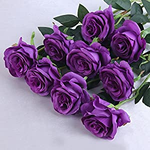 Bringsine Premium Artificial,Real Touch Pu Silk Rose Fake Flowers Home Decorations for Bridal Wedding Bouquet,Birthday Bunch Hotel Party Garden Floral Decor-Purple 5