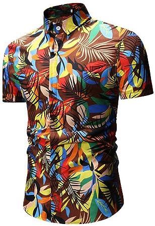 Coofandy Hombre Camisa Casual Manga Corta Dos Bolsillos Botones Cremallera Zip