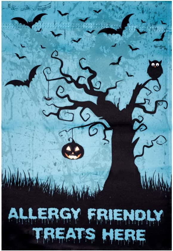 Unique Teal Pumpkin Project Garden Flags: Perfect Halloween Garden Flag For Food Allergy Awareness; Weather Resistant, Double Sided, 12