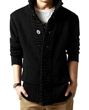 Men's Button Point Stand Collar Knitted Slim Fit Cardigan Sweater ...