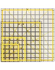 """Suwimut Set of 4 Acrylic Quilting Ruler, Clear Transparent Quilter Square Ruler with Double-Colored Grid Lines for Easy Precision Cutting and Crafts Sewing (4.5""""x4.5"""", 6""""x6"""", 9.5""""x9.5"""", 12.5""""x12.5"""")"""