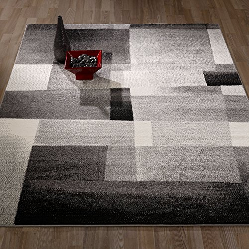 Ottomanson City Collection Contemporary Sculpted Effect Abstract Tiles Grey Black Area Rug - 5x7 (5'3