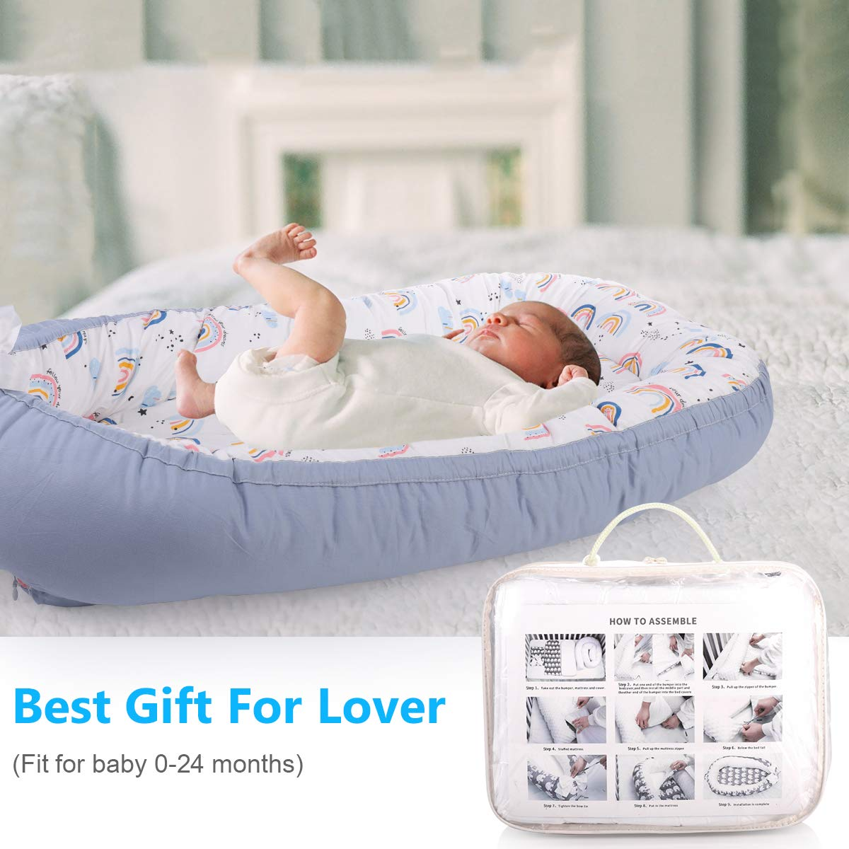Portable Baby Crib with Mattresses Detachable Newborn Lounger for 0-24 Months Baby Super Soft Machine Washable Perfect for Travel /& Co-Sleeping Elephant /& Grey Baby Nest