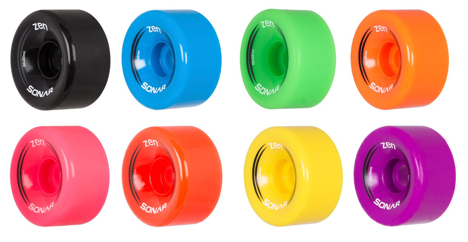 Great for Indoor or Outdoor surfaces 88A Hardness Available in 5 different colors Two Sizes 62x41mm /& 59x38mm MOTA Grip Toxic Hybrid Roller Derby Skate Wheels