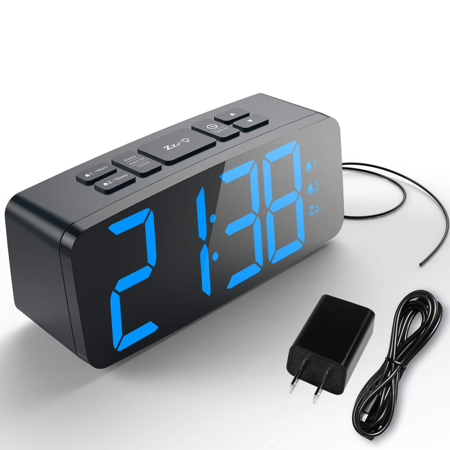 HAPTIME Digital Alarm Clock with FM Radio Dual-Alarm Snooze Large LED Display 12hr 24hr Format and Brightness Adjustable for Bedroom, Powered by USB Port and Backup Battery for Clock-Setting by HAPTIME