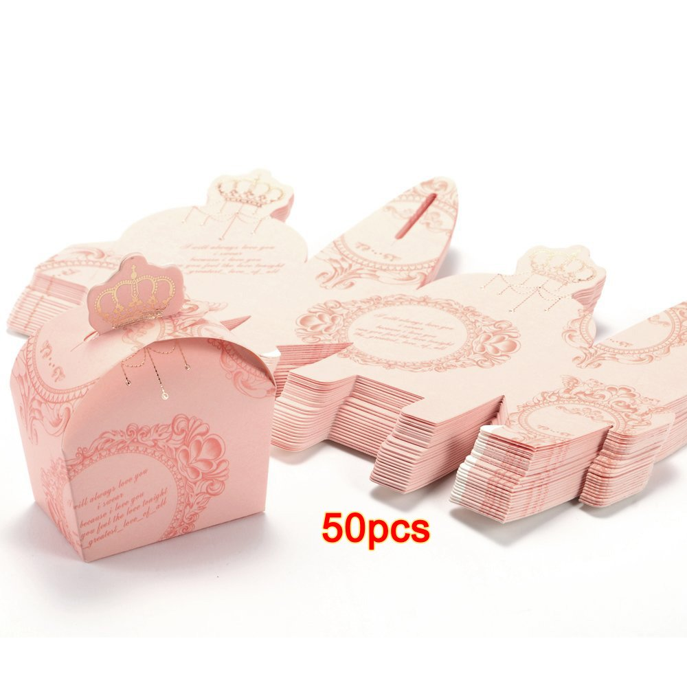 Amazon.com: SODIAL(R)50x box a Dragees crown ROSE Wedding Baptism ...