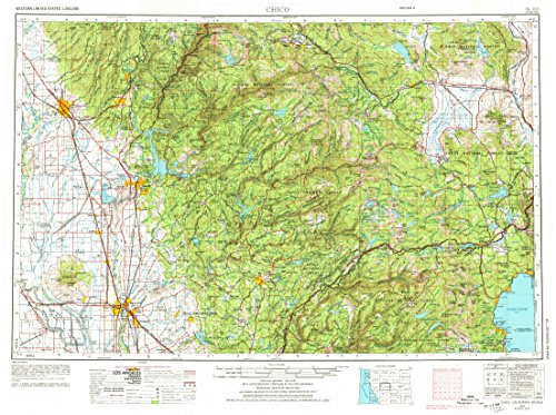 YellowMaps Chico CA topo map, 1:250000 Scale, 1 X 2 Degree, Historical, 1958, Updated 1974, 22 x 29.4 in - Tyvek