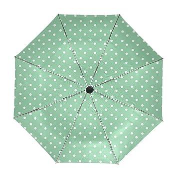 Mi Diario Verde y blanco lunares patrón viaje automático abrir/cerrar paraguas con Anti-