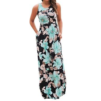 Fanteecy Clearance Women Summer Beach Boho Sleeveless Long Tank Dress  Striped Floral Plus Size Maxi Party Sundress
