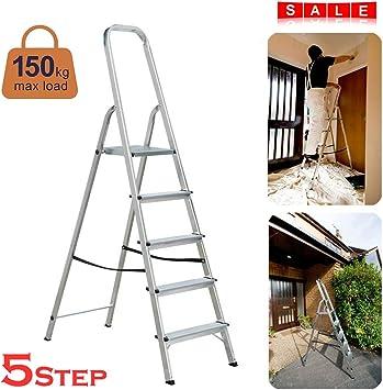 Escalera de seguridad antideslizante, 5 escalones, plegable, ligera, de aluminio, portátil, para cocina en casa, carga de 150 kg: Amazon.es: Bricolaje y herramientas