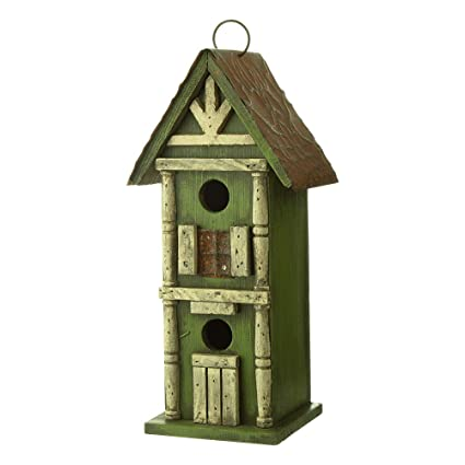 "Glitzhome 11.81/"" Antique Solid Red Cross Wood Church Birdhouse Garden Bird Cage"