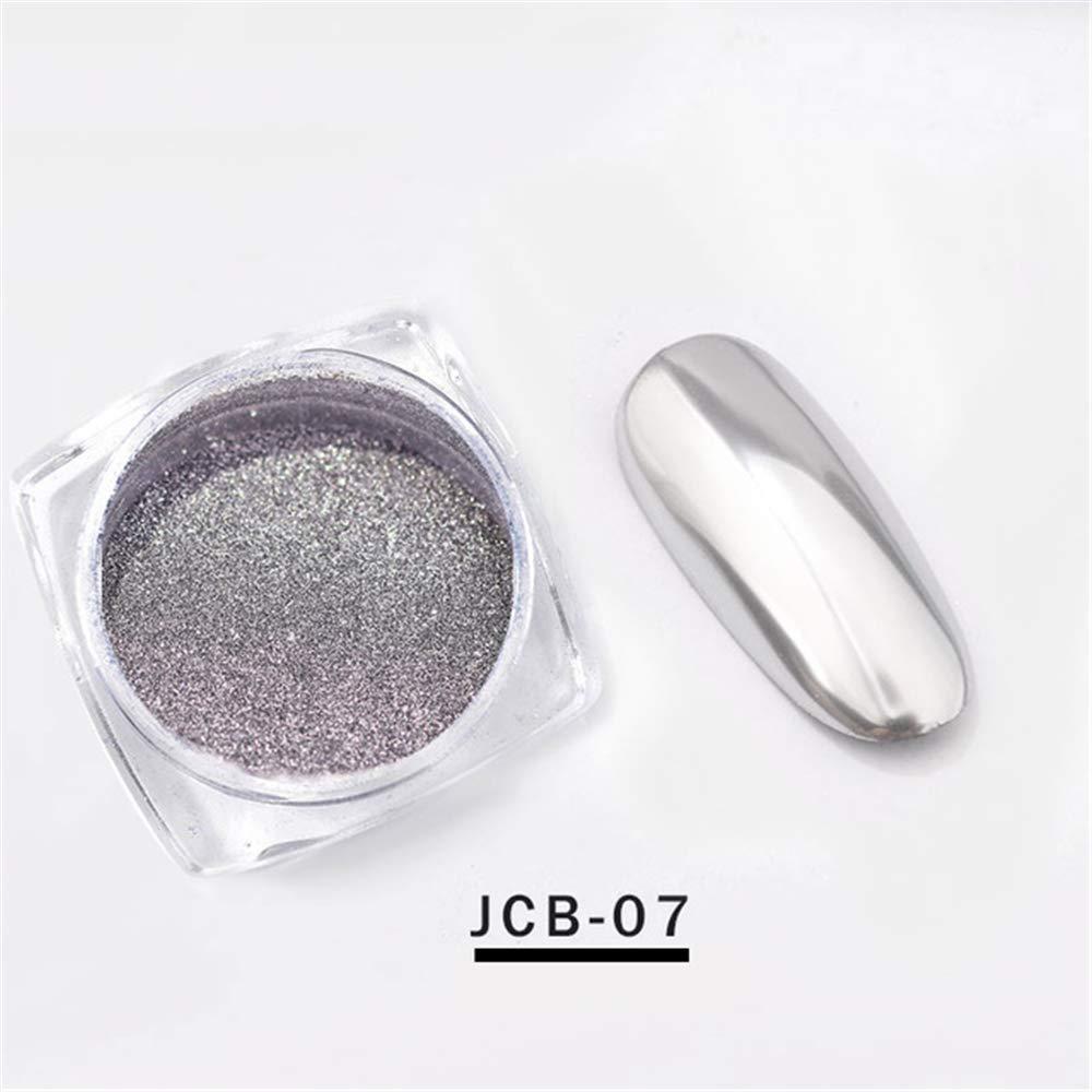 Mezerdoo 0.3g/box Rose Gold Silver Magic Mirror Effect Nail Powder Polishing For Nail Art Glitter Chrome Blue Purple Red Nail Pigment Dust Shiny Manicure Decorations (JCB07)