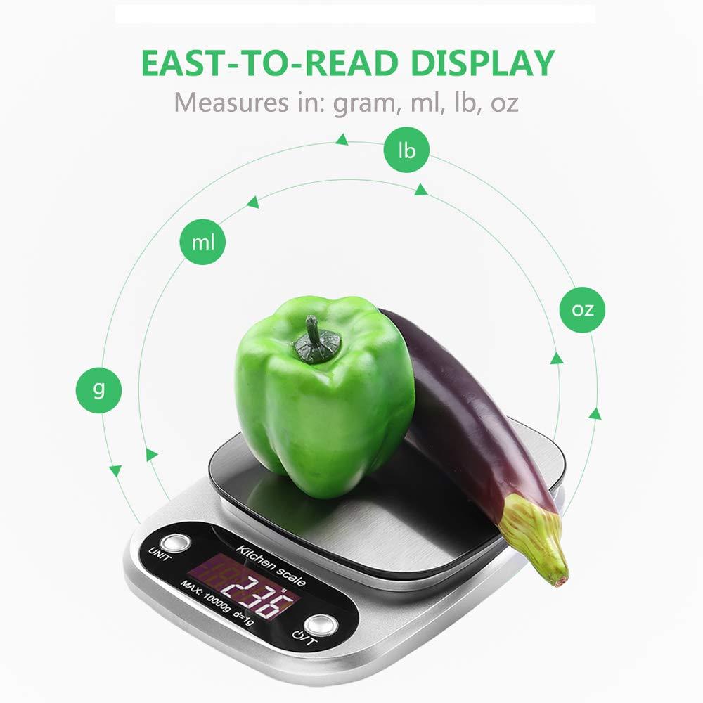bianco 10Kg//1g Bilancia Elettronica Digitale Alta Precisione Misurazione Display LCD Multifunzione da Cucina e Acciaio Inossidabile Bilancia da Cucina 3 Batterie Incluse