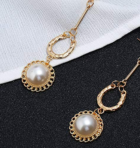 Simulated Pearl Dangle Clip on Earrings no-Pierced Round Dangling Drop Girl Gold tone Love Forever