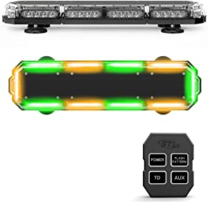 SpeedTech Lights Mini 21 120 Watts LED Strobe Lights for Trucks, Cars, Plows, and Emergency Vehicles with Magnetic Roof Mount in Amber/Green Alternating