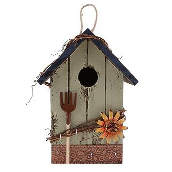 Nistkasten für Garten Dekoration Landhaus Vintage Holz Vogelhaus Nisthöhle