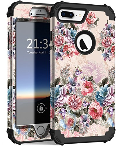 iPhone 8 Plus Case, iPhone 7 Plus Case, Hocase Heavy Duty Shockproof Protection Hard Plastic+Silicone Rubber Hybrid Protective Case for iPhone 7 Plus/iPhone 8 Plus - Peony/Black