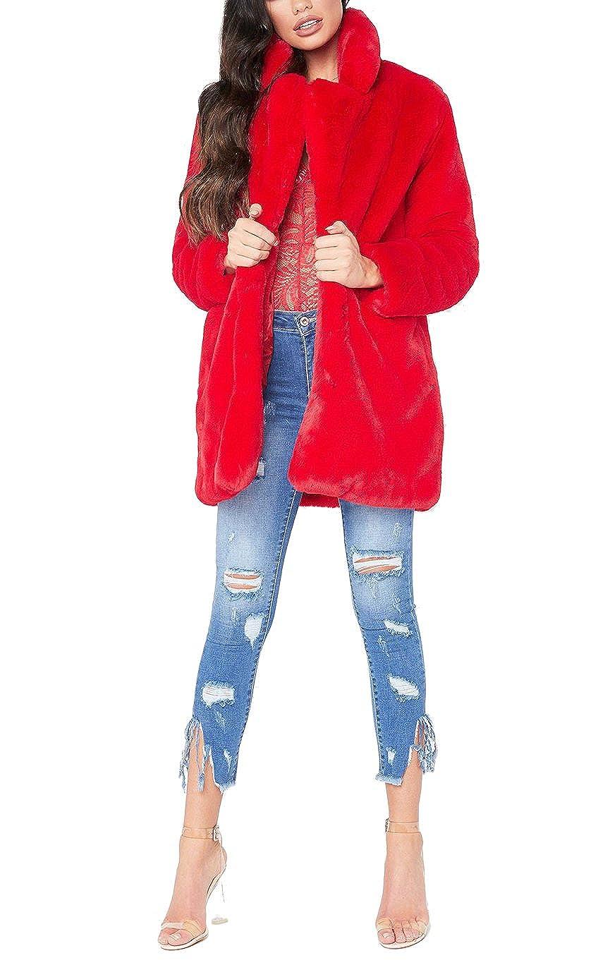 431b0a99b Remelon Womens Long Sleeve Winter Warm Lapel Fox Faux Fur Coat ...