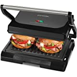 Proctor Silex 4 Serving Panini Press, Sandwich Maker and Compact Indoor Grill, Upright Storage, Easy Clean Nonstick Grids, Bl