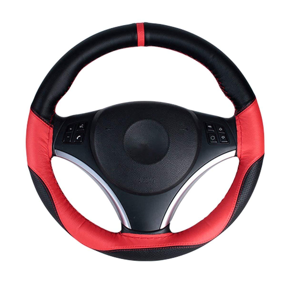 Cuero cosido a mano universal del volante del coche cubierta transpirable antideslizante car styling decoració n interior accesorios Jullyelegant