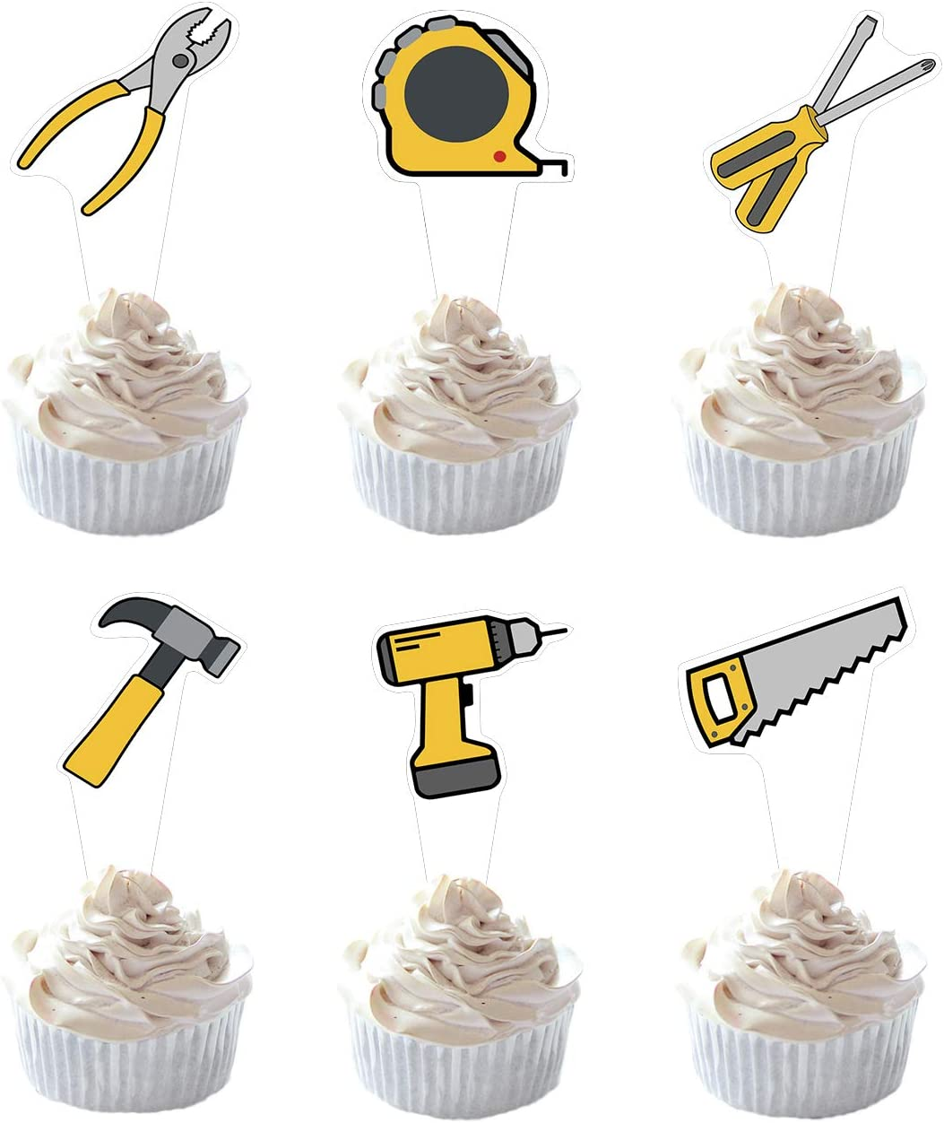 Party Hive 24pc Tools Cupcake Toppers for Kids Birthday Party Event Decor