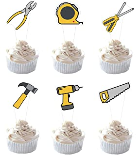 Tools,Drill,Hammer,Pliers,Saw,Cupcake Picks,Plastic,Cake Decoration,12 ct.