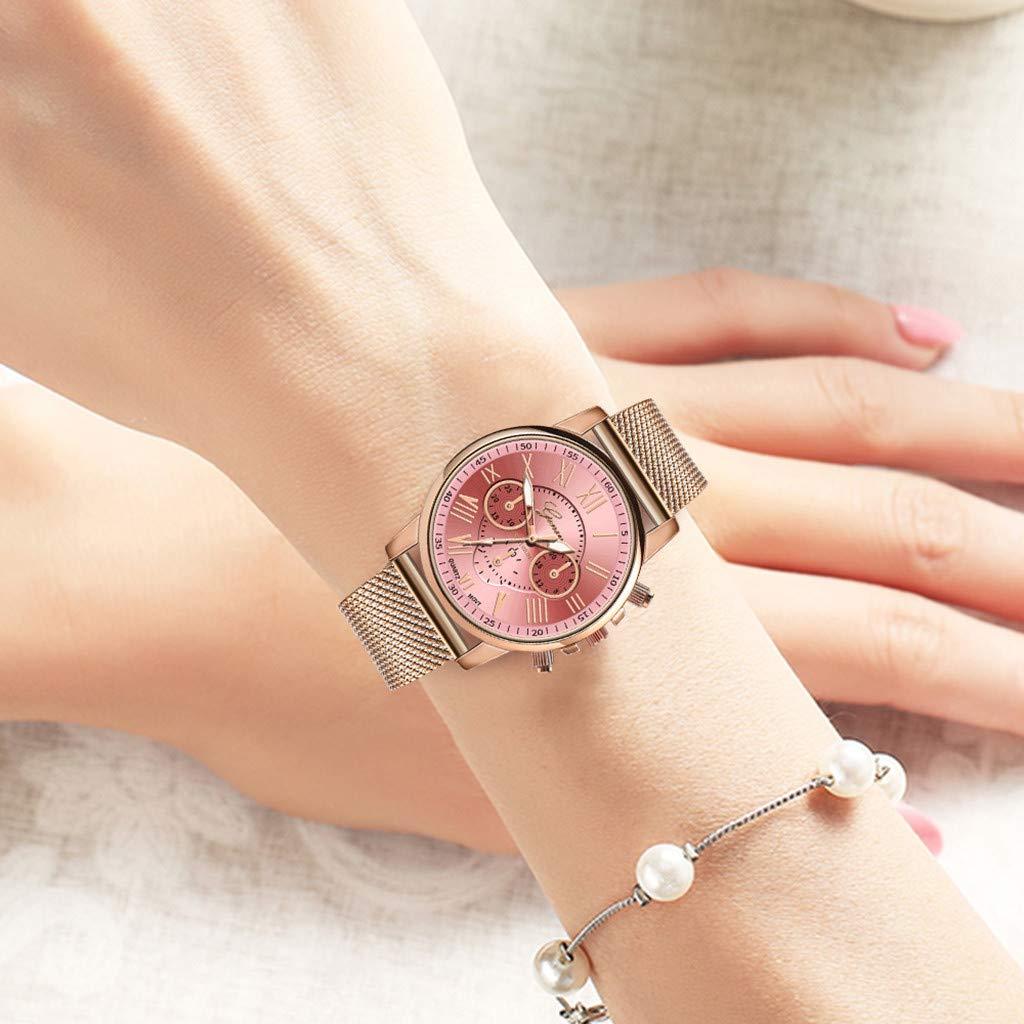 Pocciol Fashion Military Stainless Steel Quartz Watch Womens Casual Watch Luxury Analog Wristwatch (Pink) by Pocciol Cheap-Nice Watch (Image #3)